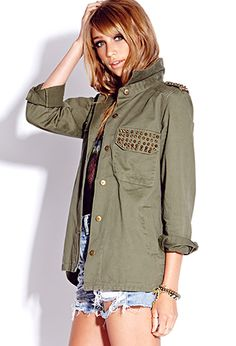 Spiked Military Jacket | FOREVER 21