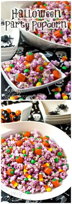 Easy and delicious Halloween Popcorn Mix for your Halloween party this year! White chocolate popcorn mixed with treats that will make everyone smile this
