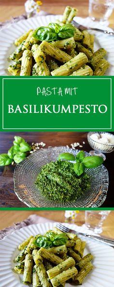 Pasta mit Basilikum-Pesto - ein einfaches & schnelles Rezept für ein duftendes Pesto! Glutenfrei, vegetarisch & sommerlich frisch 🌞❤️ | cucina-con-amore.de