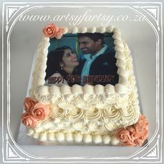 Buttercream Rose 20th Anniversary Cake with Peach Roses #20thanniversarycake #buttercreamrosecake #peachrosecake