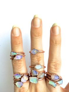 Raw opal ring Australian opal ring Rough opal ring by HAWKHOUSE I need these rings asap Tiffany Jewelry, Opal Jewelry, Jewelry Rings, Jewelery, Jewelry Accessories, Jewelry Design, Silver Jewelry, Crystal Jewelry, Jewelry Shop