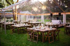 Clear Reception Tent with Chandeliers