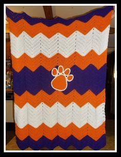 Clemson Tiger Paw Ripple Crochet Afghan - Purple Orange White