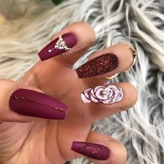 Gorgeous Colorful Nail Design Ideas for Spring Nails 2018 … - Nail Design Ideas! Rose Nails, Gel Nails, Coffin Nails, Nail Polish, Pink Coffin, Nail Nail, Colorful Nail Designs, Nail Art Designs, Maroon Nail Designs