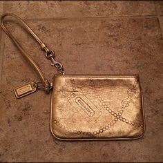 Gold Coach Metallic Leather Wristlet