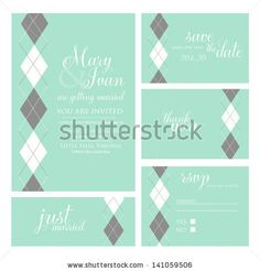 Wedding invitation, thank you card, save the date cards. Wedding set. RSVP card by Wedding invitation cards, via ShutterStock