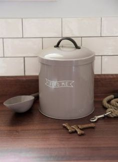This small Feed Me pet food storage bin by Garden Trading with its 6 litre capacity is a perfectly sized container for your pet's dry food or treats. Pet Food Storage, Storage Bins, Kitchen Storage, Wedding Gift List, 21st Century Homes, Clean Fridge, Shops, Pet Bowls, Food Containers
