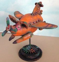 Primitive Pattern SteamPunk Pig Plane ( When Pigs Fly ) Soooo Cool Look