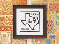 Texas Farm Road Sign Cross Stitch