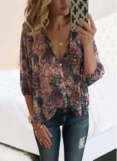 8fe9403079 Floral Arabian Polyester V-Neckline Sleeves Blouses