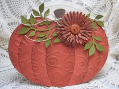 """By bettijo (Betty). Dry emboss rosy orange cardstock in swirls folder. Die cut using PTI """"Pumpkin Sections"""" die set. Arrange on PTI """"Pumpkin"""" die-cut piece. Add die-cut foliage and flower, twine, and button. Fall Cards, Holiday Cards, Pumpkin Patch Birthday, Screen Cards, Make Your Own Card, Shaped Cards, Scrapbook Cards, Scrapbooking, Thanksgiving Cards"""