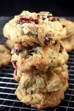 Chewy, Gooey White Chocolate Cranberry Pistachio Drop Cookies