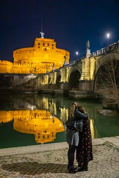 Gay Female Couple Wedding Marriage Proposal candidly photographed at night at Castel Sant'Angelo in Rome Italy by the Andrea Matone photography studio Wedding Proposals, Marriage Proposals, Wedding Couples, Proposal Photography, Lifestyle Photography, Rome At Night, Couple Posing, Couple Photos, Surprise Wedding