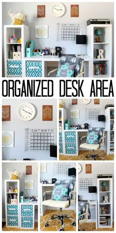 This organized desk area is perfect for a teen room! Get great ideas for organizing a desk or home office on a budget!