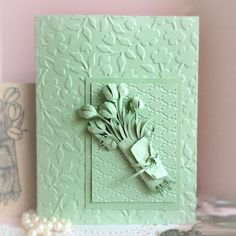 Technique Tuesday Inkless Images... Sometimes I like to change it up and not work with ink. Here is a great design using just paper and embossing folders to create a layer look with a beautiful bouquet. Supplies: Heavy solid color cardstock (Stampin' Up! Pistachio Pudding used here) Outline stamp (if...