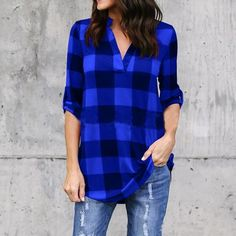 7bc415058b0 2018 Big Yard Sping Autumn Plaid Printed Tops Women Sexy Casual Loose  Blouses Large Size Female