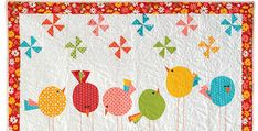 Give This Quilt to a New Mom or Enjoy it as a Throw! A whimsical flock of birds gather among pinwheels on this fun and colorful quilt. It's sized for a baby quilt but also makes a delightful throw. It will be lovely on a wall, as well. Bright crayon colored fabrics make a cheerful …