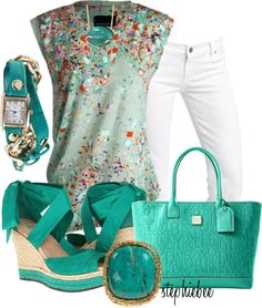 """Wrap Watch"" by stephiebees on Polyvore..I wouldn't mind wearing this super girly outfit. :)"