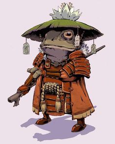 Tagged with art, awesome, frogs, creativity, samurai; The Lily Pad 7 by Conor Nolan Fantasy Character Design, Character Design Inspiration, Character Concept, Character Art, Japanese Tattoo Art, Japanese Art, Japanese Folklore, Frosch Illustration, Illustration Art