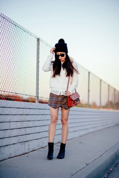 Zara angora sweater and plaid skirt, ShoeMint boots, Proenza Schouler PS11 mini, Zara beanie, Céline sunglasses
