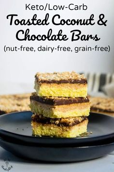 Satisfy your chocolate cravings without the sugar with these nut-free, dairy-free, grain-free Keto Toasted Coconut and Chocolate Bars! This is one easy and delicious keto, low-carb, THM:S chocolate dessert you won't want to miss! #allthenourishingthings #keto #chocolate #ketodessert #lowcarb #dairyfree #nutfree #grainfree Sugar Free Desserts, Low Carb Desserts, Healthy Dessert Recipes, Low Carb Recipes, Real Food Recipes, Flour Recipes, Free Recipes, Yummy Food, Paleo Chocolate