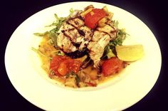 Happy Monday! Enjoy today's Lemon Striped Bass and Grilled Artichoke & Tomato Sauce, with an Arugula Salad tossed with Kalamata Olives and Lemon Vinaigrette!