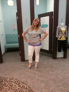 love this striped top with the white capris <3 so fun for spring!