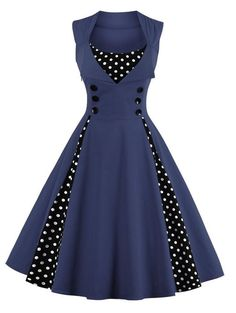 $14.56 Retro Polka Dot Button Embellished Dress