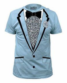 Impact Original Retro Prom Tuxedo Light Blue T-Shirt  Small