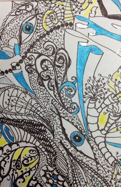 Zen tangle, my first ever original post onto Pinterest. Done with pen and markers
