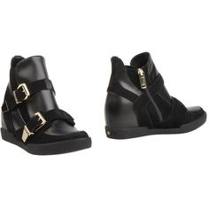 Liu •jo Shoes Ankle Boots ($140) ❤ liked on Polyvore featuring shoes, boots, ankle booties, black, black wedge boots, ankle boots, leather booties, black booties and black wedge booties