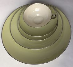 Franciscan Fine China Willow Green Five PC Place Setting Plate Cup Saucer Vtg #Franciscan