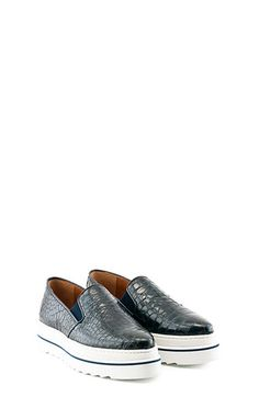 BLUE CROCO PRINT LEATHER   SNEAKERS. #sneakers #croco #shoes #fw15 #ras