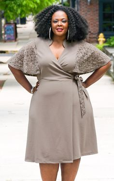Charming Lace Wrap Dress - Shitake #PlusSize #PSFashion www.curvaliciousclothes.com Plus Size Clothing in Canada