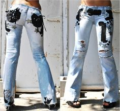 Painted on jeans. Low rise jeans for women and girls