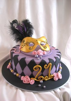 Masquerade Ball Cake in purple and black with feathers and mask for a 21st Birthday www.wildsugarrose.com.au