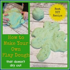 St Patricks Day activities for kids - Green Play-doh, recommended by HowToHomeschoolMyChild.com