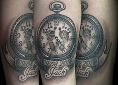 Tatuajes para el nacimiento de un hijo: Mejores ideas [FOTOS] - Tatuaje reloj con huellas para el nacimiento de un hijo