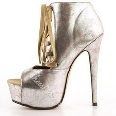 Shoespie - Shoespie Shoespie Sliver Peep Toe Lace Up Platform Heels - AdoreWe.com