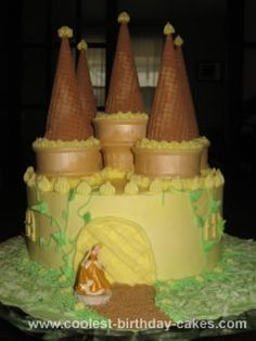 Homemade Castle Cake: My daughter wanted a princess castle cake for her birthday. I looked through the castle cake pictures here on coolest b-day cakes and combined several