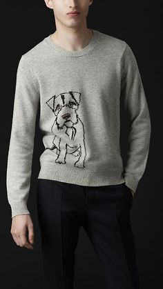 Burberry - INTARSIA TERRIER CASHMERE SWEATER