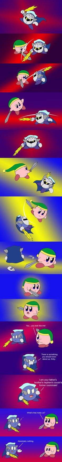 Kirby vs Meta Knight by Rainbow-Boa.deviantart.com on @DeviantArt Oh Pfffttt!!!!! XD