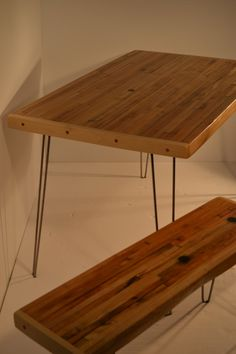 Nook Table - Fantastic Industrial Salvaged Maple With Hairpin Legs. $650.00, via Etsy.