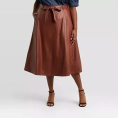 Women's Faux Leather Circle Midi Skirt - Who What Wear™ Slip Skirts, A Line Skirts, Pleated Skirt, Midi Skirt, Brown Leather Skirt, Plus Size Designers, Leather Texture, Satin Slip, Plus Size Jeans
