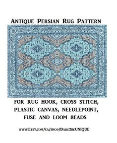 Antique Persian Rug PRINTABLE PATTERN, Rug Hooking Pattern, Cross Stitch, Plastic Canvas, Needlepoint, Crochet Pattern, Instant Digital Pdf by Dare2beUNIQUE on Etsy Rug Hooking Patterns, Pattern Art, Quilt Pattern, Cross Stitch Needles, Simple Prints, Scrapbook Journal, Loom Beading, Persian Rug, All You Need Is