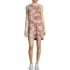 Current/Elliott Muscle Camo Dress Tee ($138) ❤ liked on Polyvore featuring tops, crew neck pullover, pullover top, camo print top, sleeveless tops and side slit top