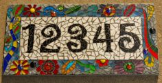 Mosaic Address Sign, recycled mdf, glass