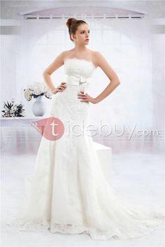 Bonito Vestido de Novia de Boda /Silueta Sirena sin Tirantes con Largo al Piso Anita's (3AD0131) (Envío Gratuito)
