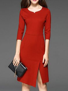 Stylewe Plus Size V neck Red Midi Dress Sheath Work Dress Sleeve Elegant Slit Solid Dress Casual Work Dresses, Elegant Dresses, Dresses For Work, Formal Dresses, Dress Work, Office Dresses, V Neck Midi Dress, Midi Dress With Sleeves, Bodycon Dress