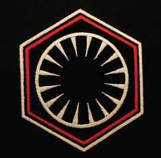 First Order White, Black and Red embroidered Uniform Patch. Patch features the First Order insignia seen in Star Wars: The Force Awakens. This patch is worn by First Order officers including General Hux. This is the perfect patch for your costume!  Patch measure 3.5 by 3. If you need a different size, please contact us prior to ordering.  Patches can be ironed on or sewn on.  To iron on: 1. Use setting between Wool and Cotton, no steam. 2. Apply pressure for 10-12 seconds. 3. Turn garment…